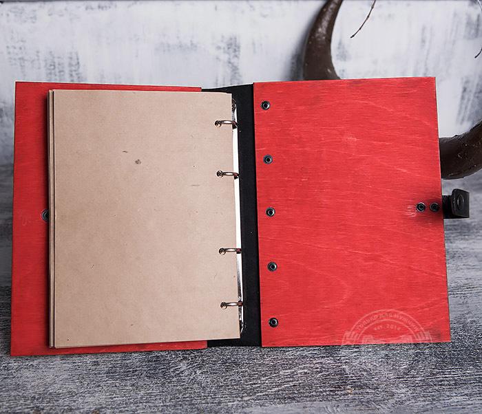 BC126-4 Яркий деревянный блокнот красного цвета, ручная работа фото 06