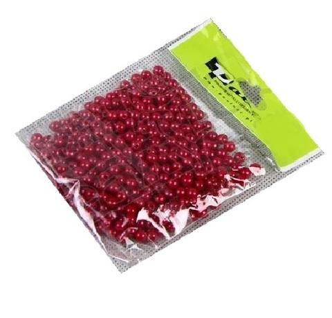 Бусинки в пакете 6 мм, пластик, 50 г, цвет: красный