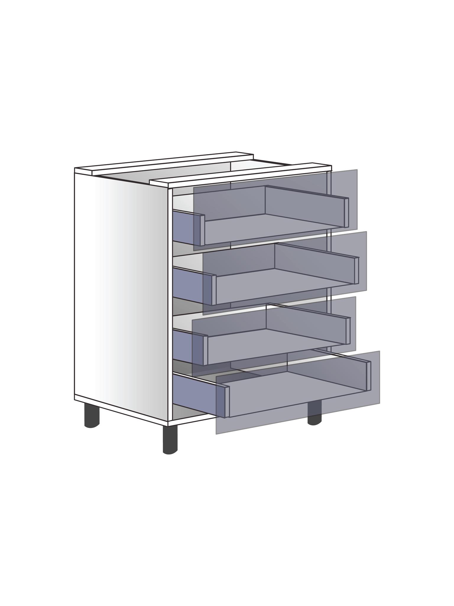 Напольный шкаф c 4 ящиками, 720Х600 мм / PushToOpen