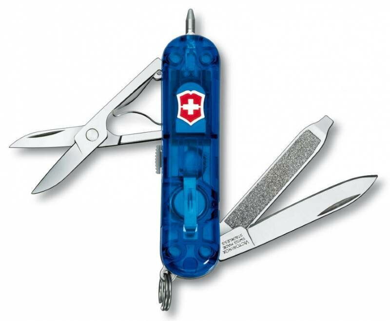 Нож-брелок Victorinox Signature Lite (0.6226.T2) с шариковой ручкой и фонариком, цвет синий полупрозрачный | Wenger-Victorinox.Ru