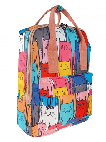 Молодёжный рюкзак из текстиля с принтом, бирюзовый