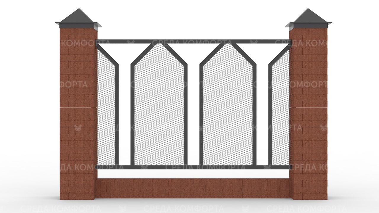 Забор из сетки рабицы ZBR0184
