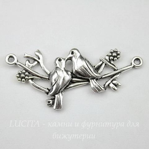 "Коннектор ""Пара птичек на ветке"" (1-1) 46х16 мм (цвет - античное серебро)"