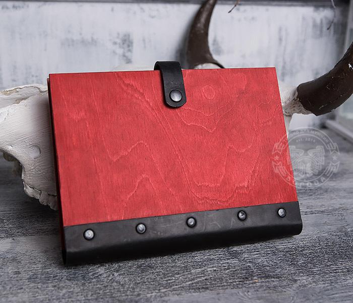 BC126-4 Яркий деревянный блокнот красного цвета, ручная работа фото 07
