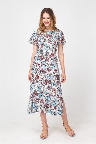 Фото платье миди с цветочным принтом прямого силуэта - Платье З354а-399 (1)