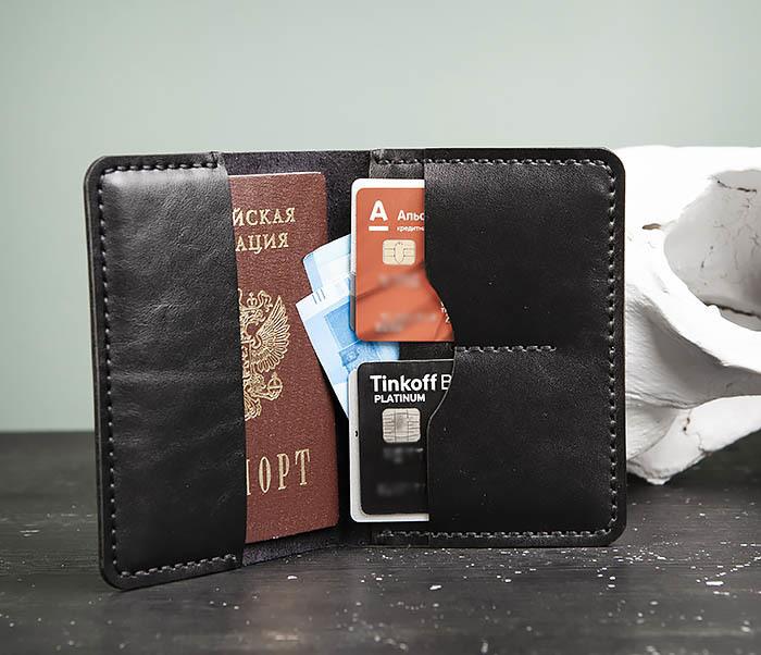 WB177-1 Обложка для паспорта из черной натуральной кожи