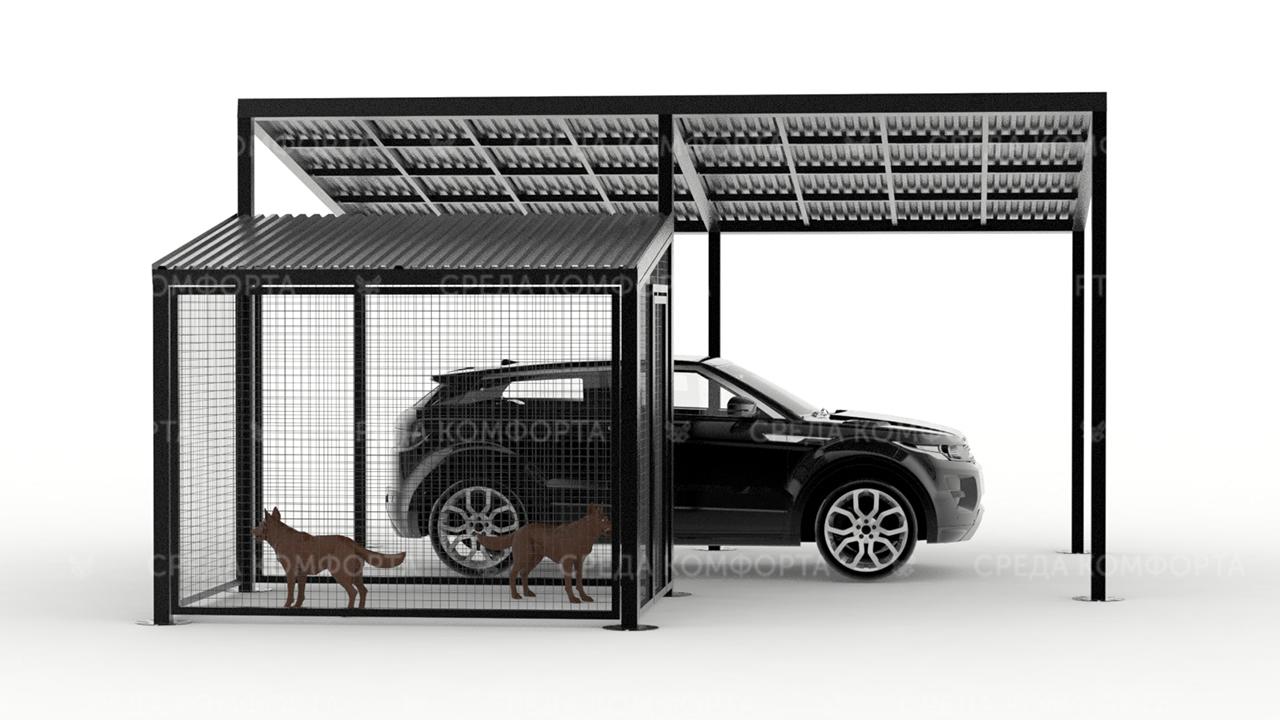 Навес для автомобиля с будкой для собаки AVNVS0013