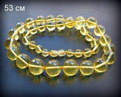 бусы из натурального янтаря шар лимонный