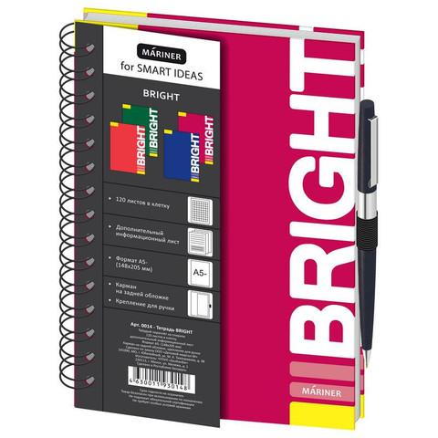 Бизнес-тетрадь Mariner Bright А5 120 листов бордовая в клетку с резинкой для ручки на спирали (148х205 мм)