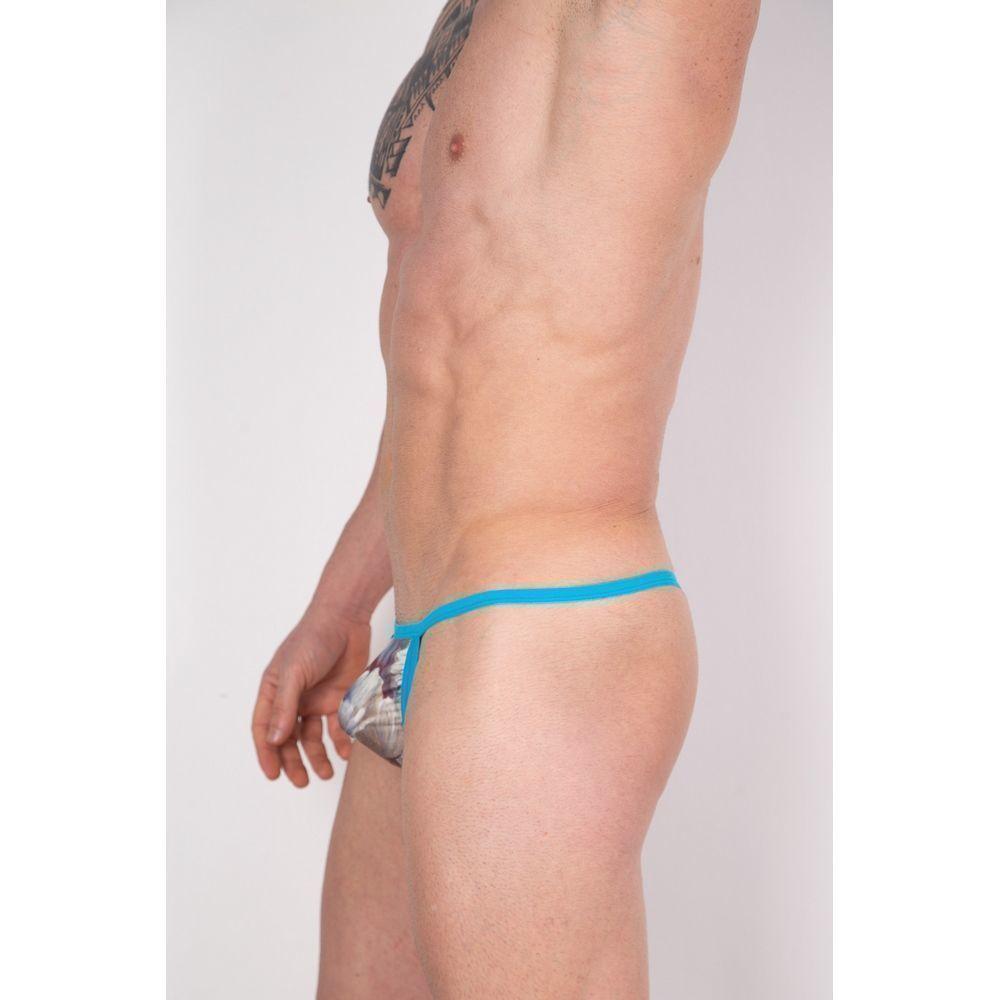 Мужские трусы стринги голубые с принтом Cosmos Colors FR01_BBG