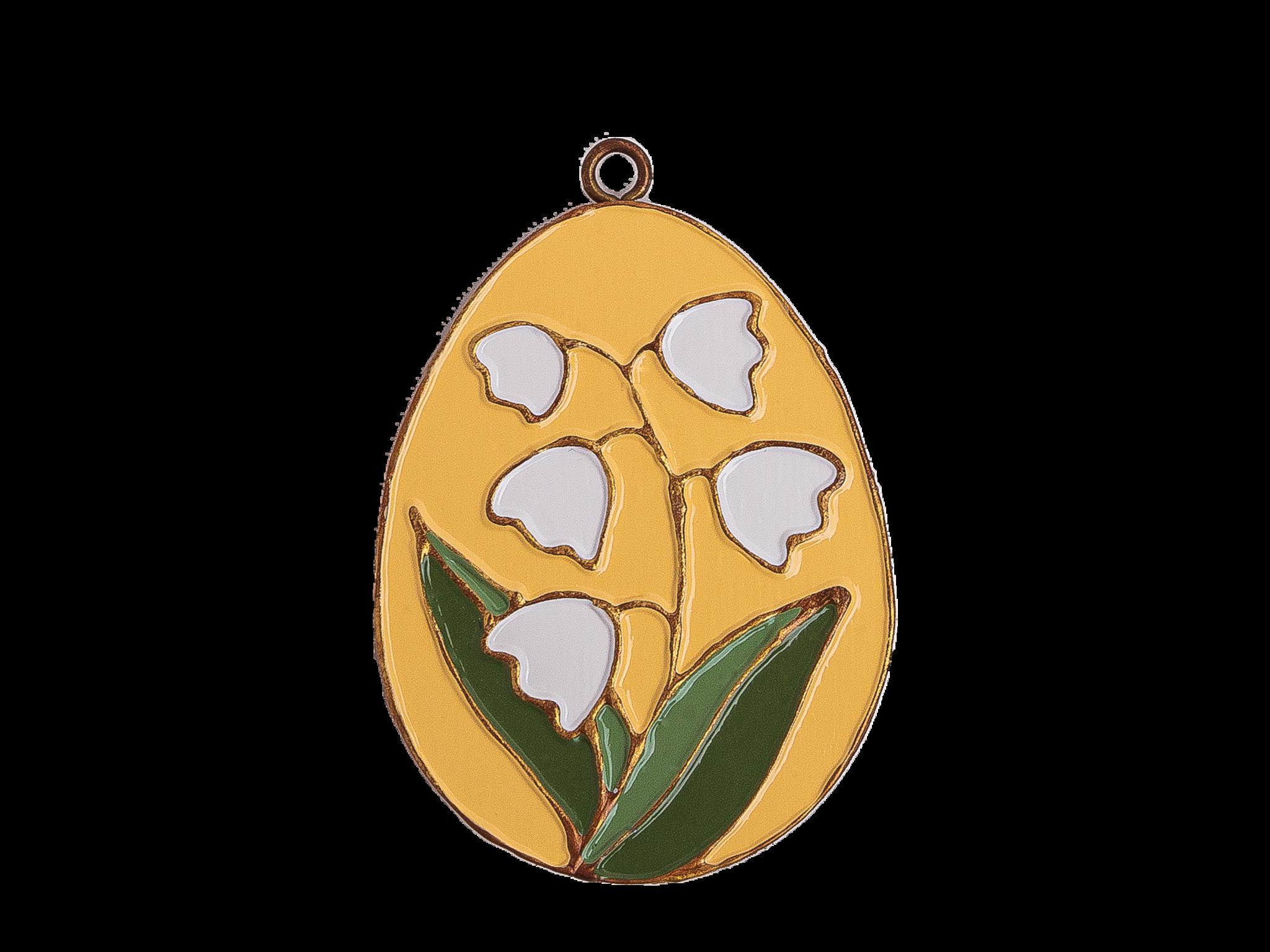 Пасхальное украшение Яйцо с Ландышем, цвет: светло-желтый