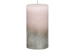 Свеча декоративная 6.8х13см Garda Decor Rustic розовая с серебром 103668640304
