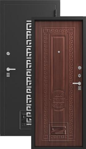 Дверь входная Зевс Z-5, 2 замка, 1,5 мм  металл, (чёрный шёлк+орех южный)