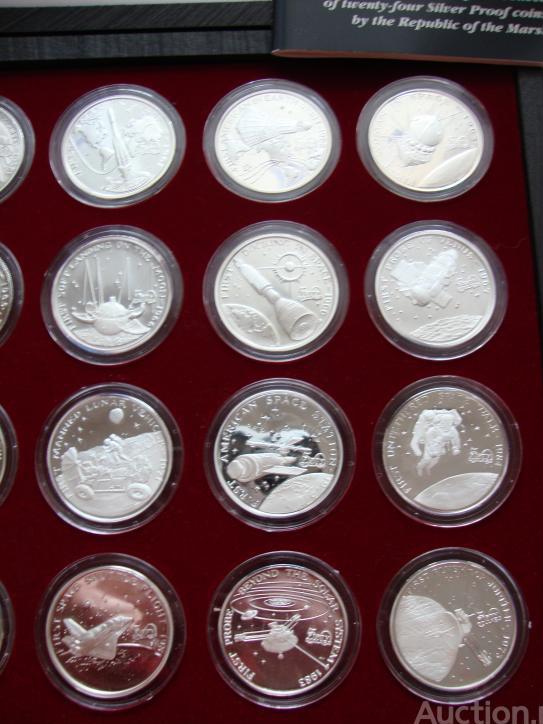 Полный набор из 24 монеты 50 долларов 1989 год. Космос. Маршалловы о-ва.  Серебро. В коробке