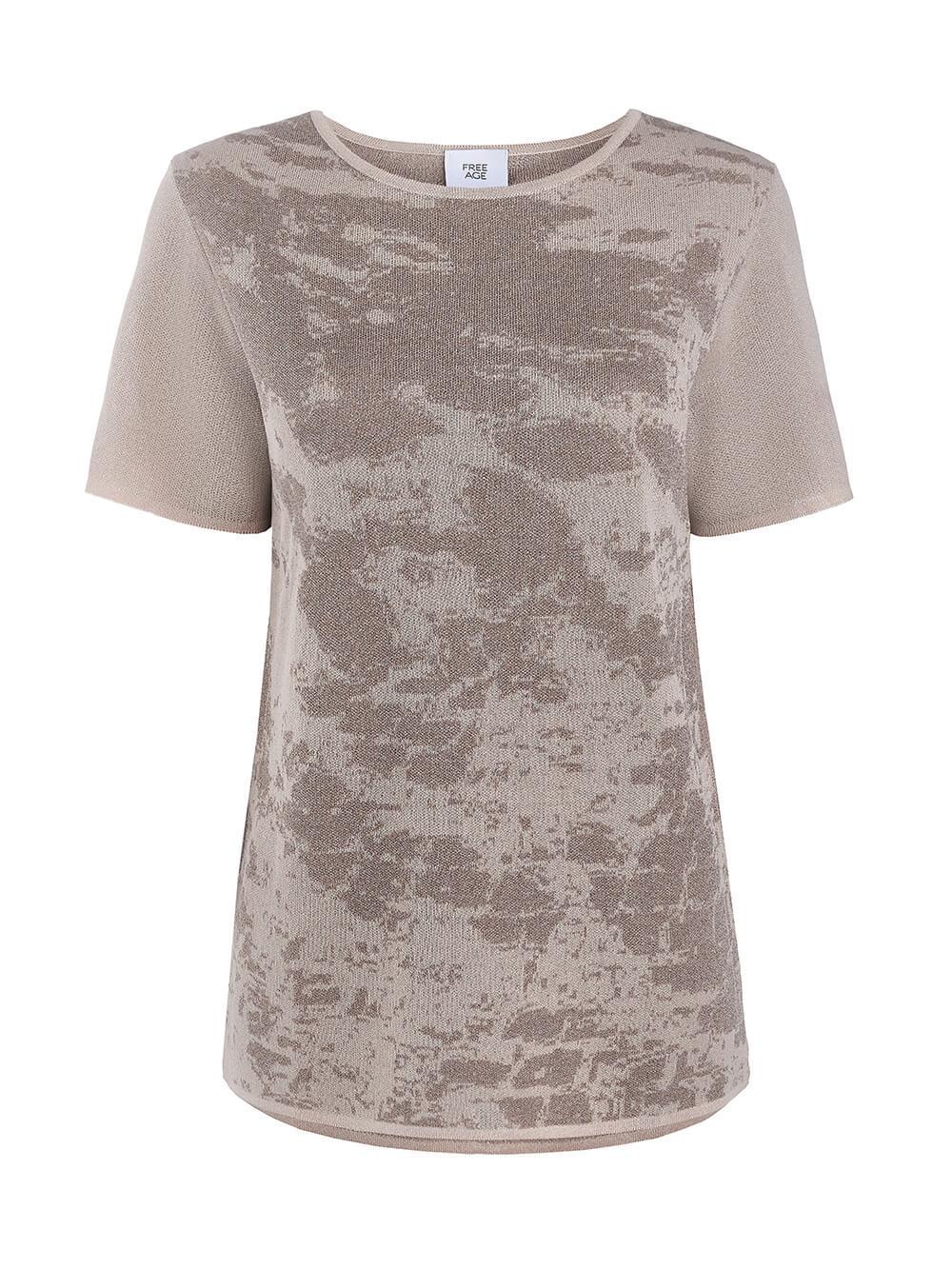 Женская футболка бежевого цвета из вискозы - фото 1