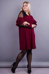 Юнона. Нарядное женское платье плюс сайз. Бордо.