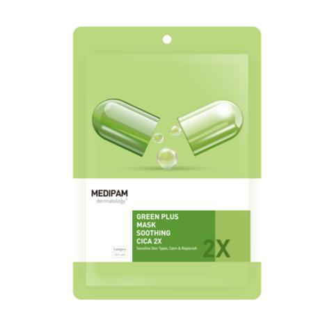 MEDIPAM Маска для лица Двойной уход успокаивающая с центеллой / Green Plus 2x Mask Soothing Cica (20мл)