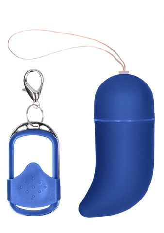Синее виброяйцо Medium Wireless Vibrating G-Spot Egg с пультом - 7,5 см.