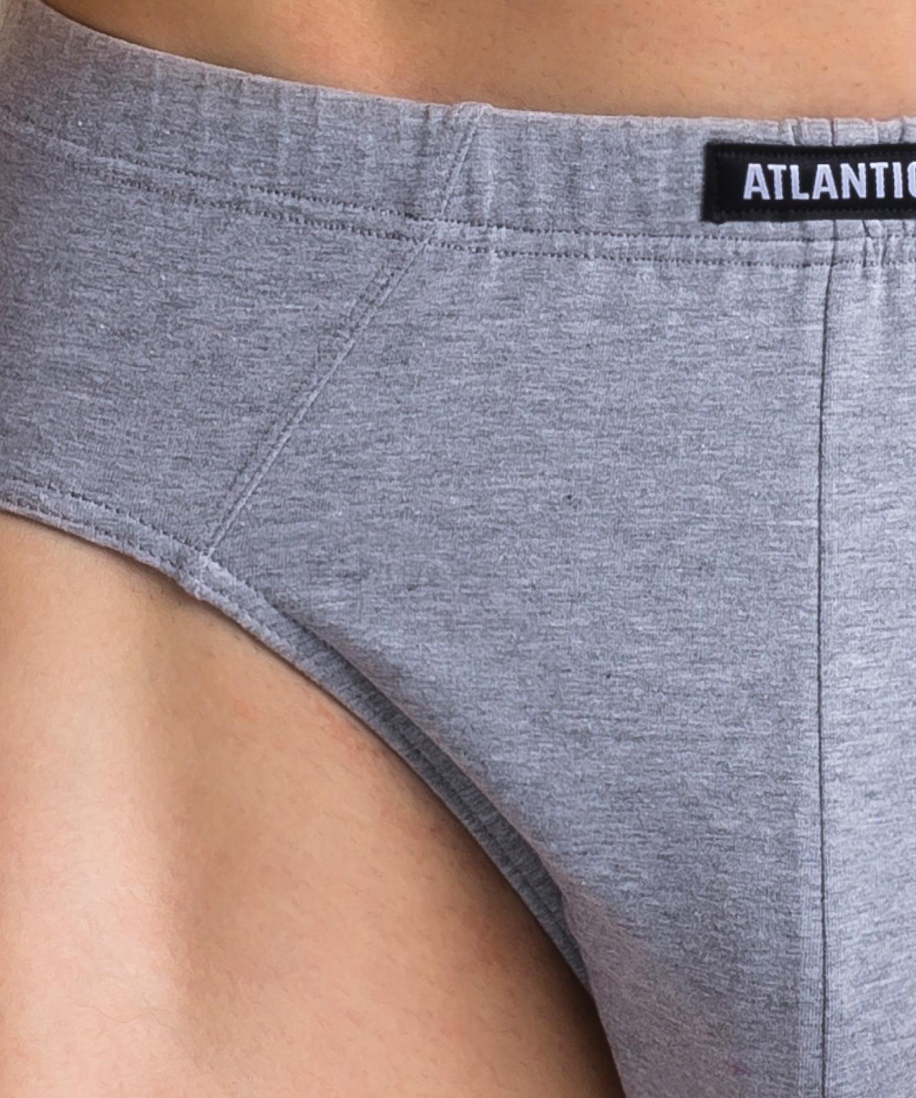 Мужские трусы слипы классика Atlantic, набор 3 шт., хлопок, черные + серый меланж + хаки, 3MP-108