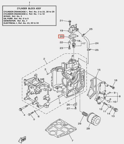 Прокладка крышки термостата для лодочного мотора F20 Sea-PRO (2-20)
