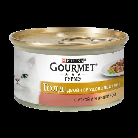 Gourmet Gold Консервы для кошек Двойное удовольствие с Уткой и индейкой (Банка)