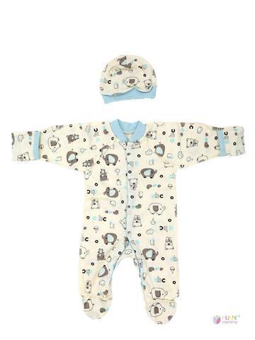 ФЭСТ, Hunny Mammy. Комплект детский стерильный, в роддом, молочный/светло-голубой