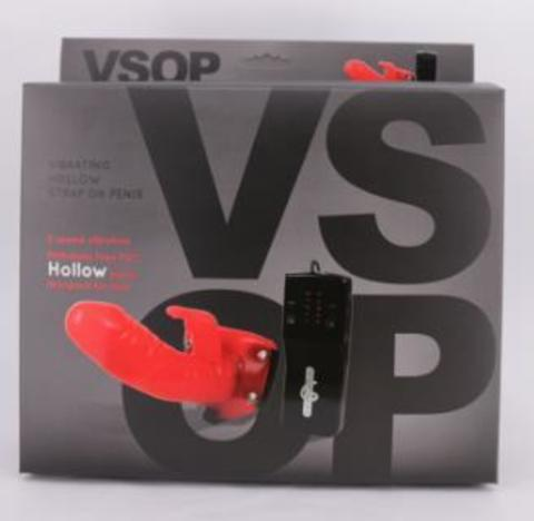Страпон с вибрацией и клиторальным стимулятором VSOP - 17,5 см.