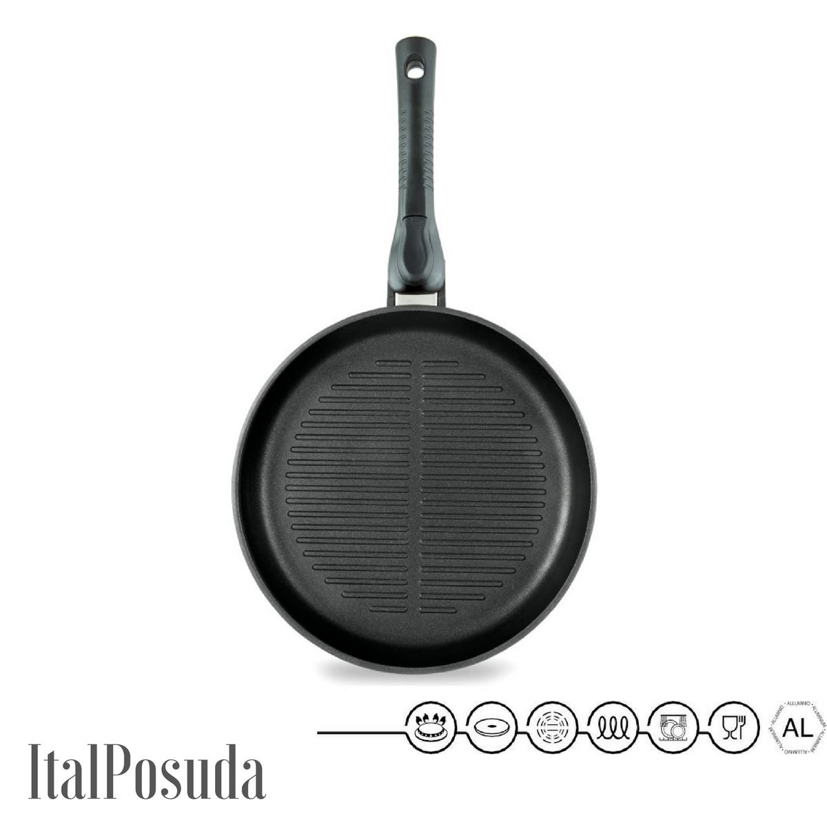 Сковорода Гриль со съёмной ручкой НМП Ферра Индукция, 24 см