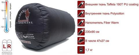 Спальный мешок INDIANA Camper Plus L-zip от -12 °C (одеяло с подголовником 195+35X90 см)