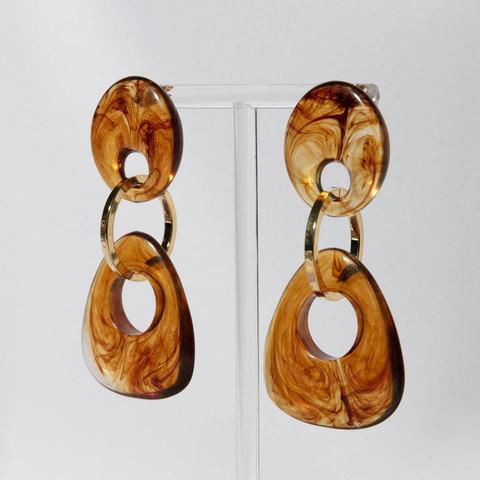 Серьги с труегольными подвесками (коричневый)