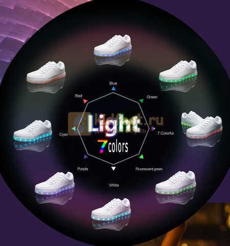 Светящиеся кроссовки с USB зарядкой Fashion (Фэшн) на шнурках, цвет белый, светится вся подошва. Изображение 27 из 29.