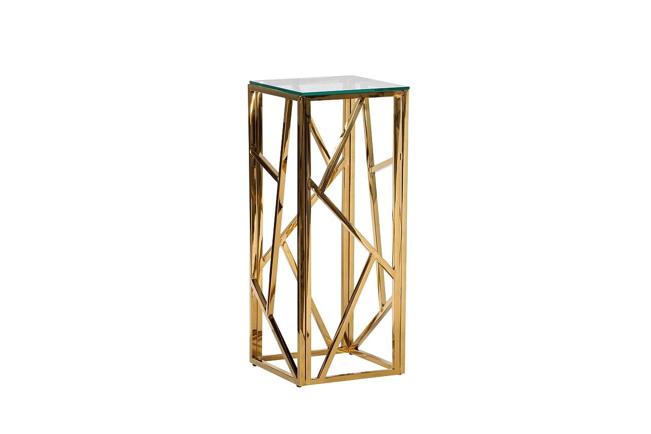 47ED-FS015GOLD Стол журнальный высокий прозр.стекло/зол.30*30*75