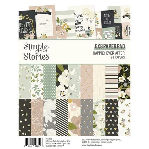 Набор двухсторонней бумаги Simple Stories - HAPPILY EVER AFTER - 15х20,5 - 24 л.