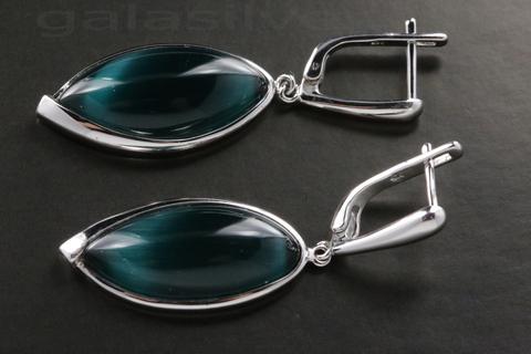 Серьги с кошачьим глазом из серебра 925