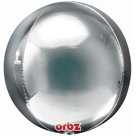 Фольгированный шар сфера серебряная