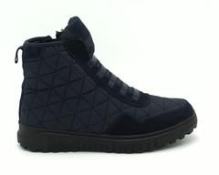Ботинки зима синего цвета из текстиля