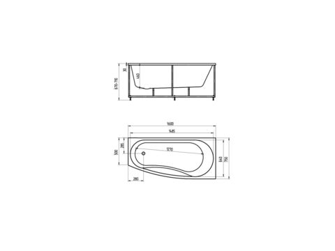 Ванна акриловая Aquatek Пандора 160х75см. на каркасе и сливом-переливом левая/правая схема