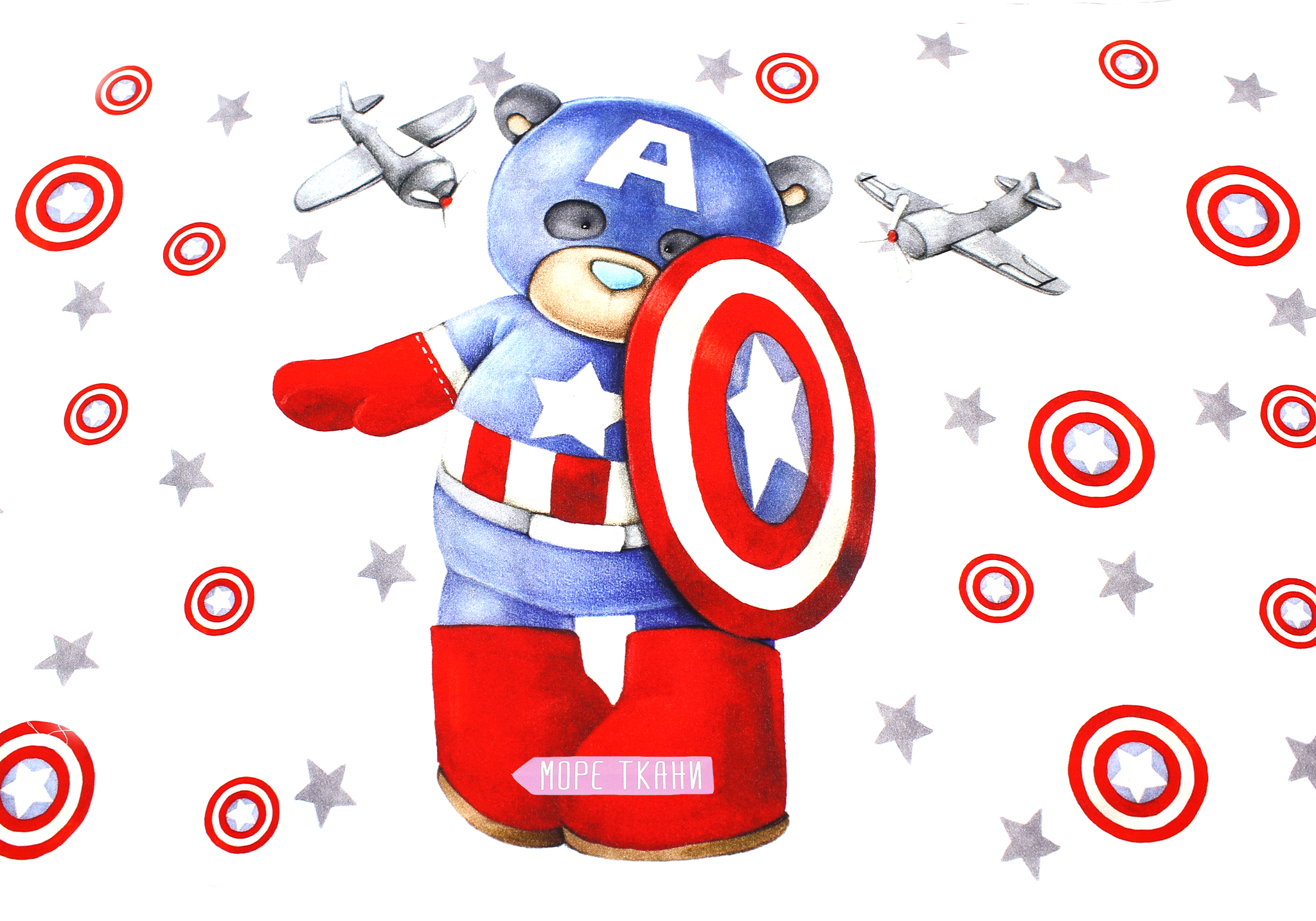 Панель(купон) мишка-капитан-Америка и самолеты-40*60 см.
