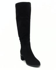 Черные сапоги еврозима из натурального велюра на устойчивом каблуке