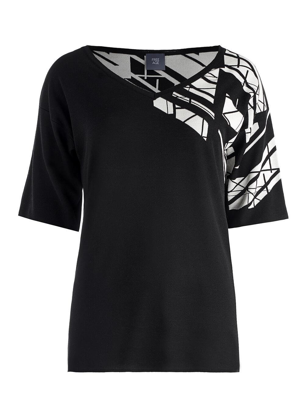 Женский джемпер черного цвета с контрастным принтом из шелка и вискозы - фото 1