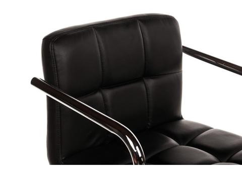 Офисное кресло для персонала и руководителя Компьютерный стул Arm черный 51*51*78 Хромированный металл /Черный кожзам