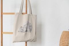 Сумка-шоппер с принтом Кот, Кошка, Котенок, Персидская (кошки) бежевая 007