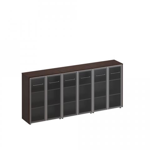 Шкаф для документов со стеклянными дверьми (стенка из 3 шкафов) (274x46x120)