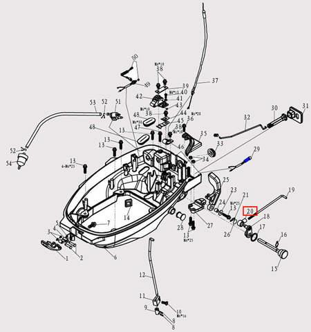 Наконечник тяги п-п Φ30*Φ19 для лодочного мотора F9.8 Sea-PRO (2-20)