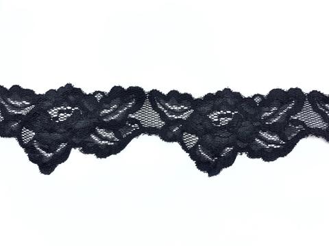 Кружево эластичное черное 7,5 см