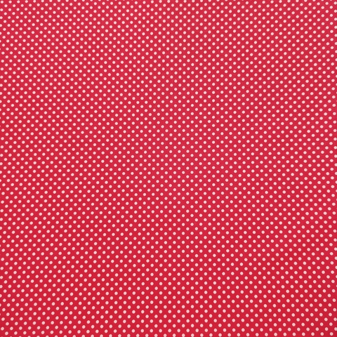 Ткань хлопковая белый горошек 3 мм на красном. Отрез 50*80 см