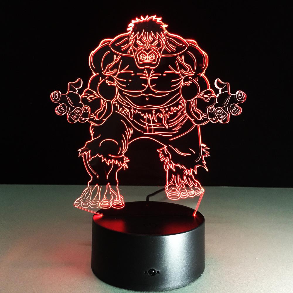 3D светильник с пультом Мстители Халк