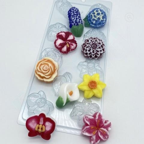 Пластиковая форма для шоколада бол. ЦВЕТОЧНОЕ АССОРТИ №2 (диаметр цветов 50мм)
