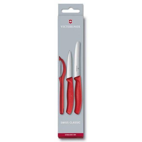 Набор ножей для кухни Victorinox Classic (6.7111.31) 2 ножа 80-110мм и овощечистка красные