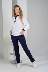 Луїза. Стильна біла блуза з зав'язками. Синій